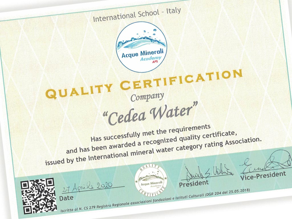 Quality Certification award for Cedea mineral water