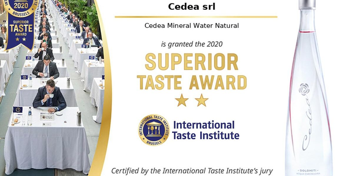 Cedea water winner of Superior Taste Award by International taste Institute